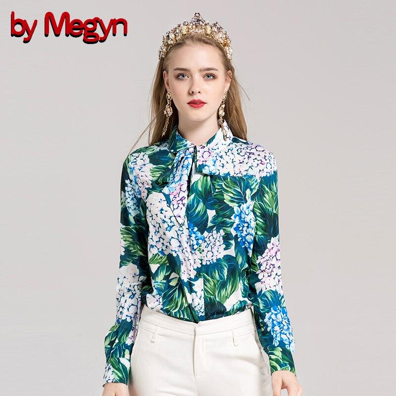 2017 Blouses Par À Megyn Taille Cravate Xxxl Green Floral Mode Chemise Arc Longues La Plus Piste Blouse Imprimé Vert Manches Femmes I4rrqx5