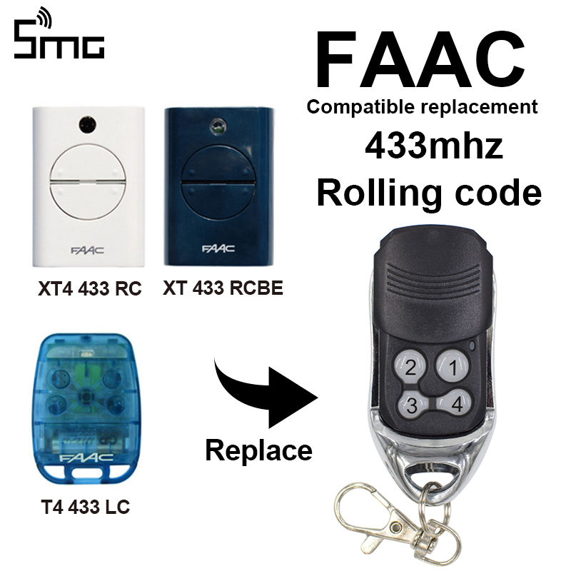 FAAC Remote Controls Transmitter Replacement FAAC XT4 RC XT RCBE T4 LC For Garage Command Gate Door Opener 433mhz Rolling Code