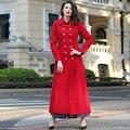 2016 S-3XL Плюс Размер Тонкий Траншеи Пальто Женщин Двубортный Turn Down Ошейник С Длинным Рукавом Мода X Длинное Пальто Красный осень