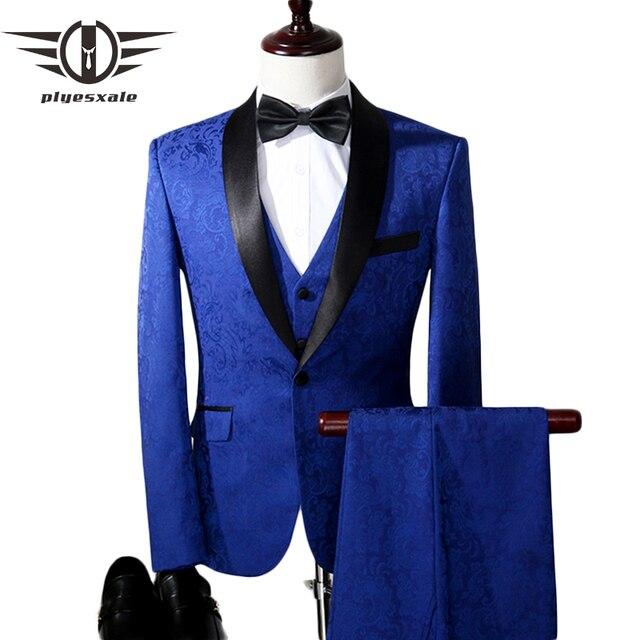 Plyesxale Jacquard Suit Men 2018 Royal Blue Tuxedo Jacket