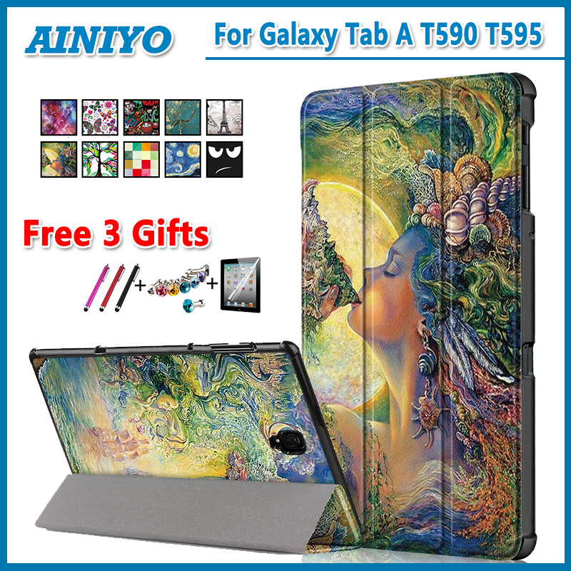 High quality PU Case Cover For Samsung Galaxy Tab A 2018 SM-T590 SM-T595 T590 T595 105 protective case +Screen Protector gifts