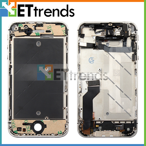 Free Shipping Metal Middle Mid Frame Full Assembly Plate Bezel Housing Black White For iPhone 4S Replacement Repair Parts