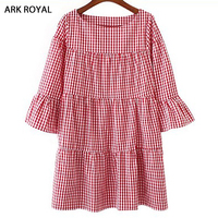 ARK ROYAL Women Oversized Pleated Plaid Dress Summer Elegant Checkered Flare Sleeve Loose Casual Sweet Dresses