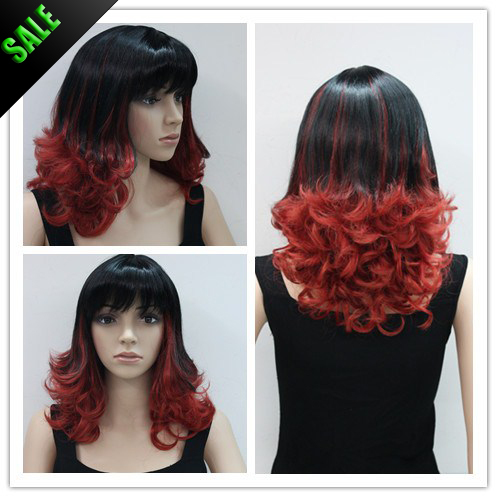 Remarkable Wholesale Wig Short Ombre Wavy Highlight Color Black To Red Two Short Hairstyles For Black Women Fulllsitofus