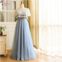 Waulizane Shiny Tulle A Line Evening Dresses Delicate Appliques With Removable Jacket Plus Size Dresses Lace Up Prom Dresses