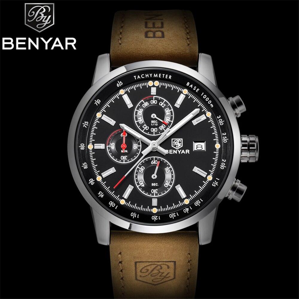 BENYAR Hommes de Sport Chronographe À Quartz de Montre De Luxe D'origine top étanche hommes horloge en cuir militaire montre heure