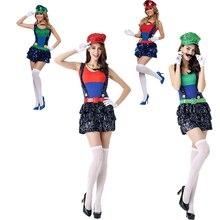 Adulto Super Mario trajes mujer Luigi ropa sexy plumber disfraces de  Halloween Super Mario Bros Cosplay trajes para las mujeres d547ce7b88cc