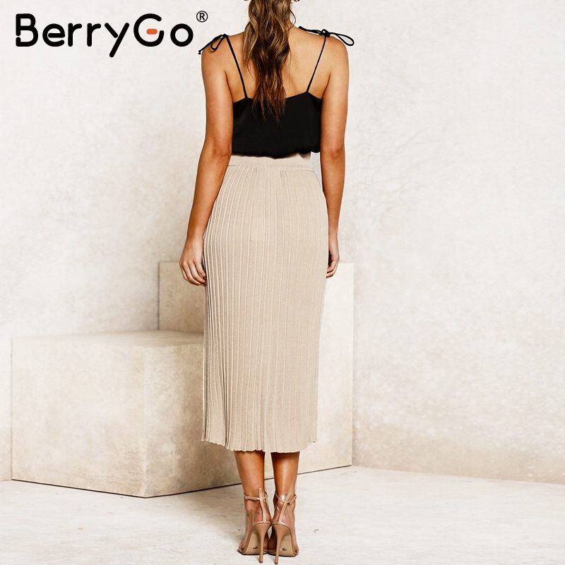 Image 3 - BerryGo Vintage bodycon knitted skirts women Buttons a line striped midi skirts female Elegant office ladies pencil skirts 2019Skirts   -