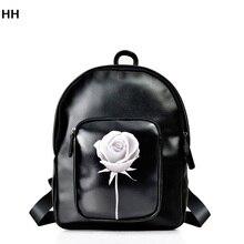 Черный женщины сумку рюкзак изготовлен из высококачественного PU кожа моды на осень/зима белые розы девушки водонепроницаемый рюкзак сумка