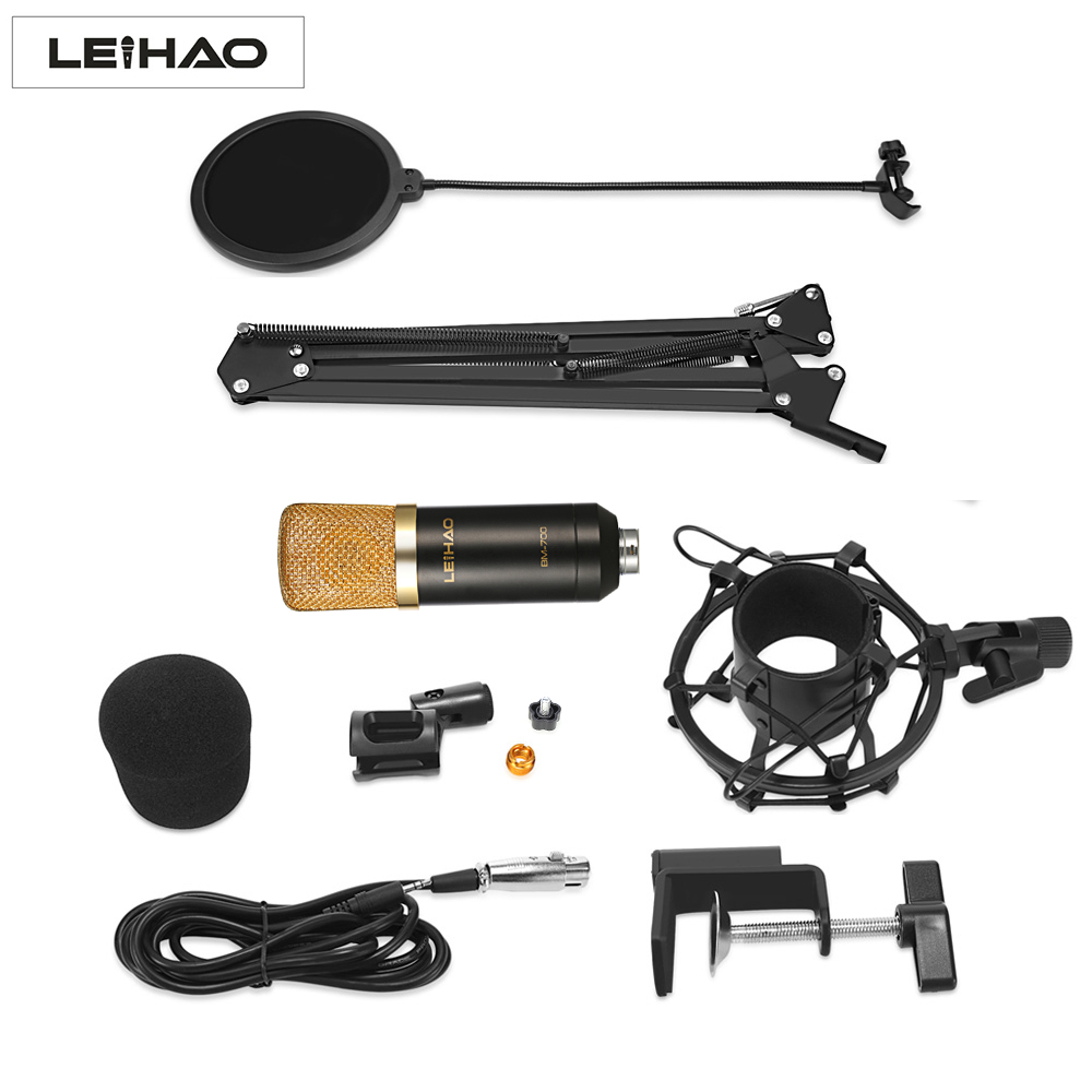 LEIHAO BM 700 BM700 Professional Condenser Microphone Studio Recording Full Set With Microphone Stand Mic Phone For Computer PC heat live broadcast sound card professional bm 700 condenser mic with webcam package karaoke microphone