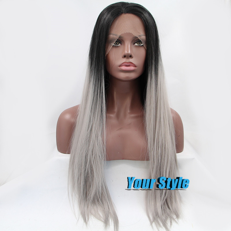 For Sale Synthetic Black Grey Ombre Lace Front Wig Long