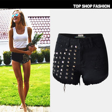 2017 Brand High Waist Black Jeans Shorts Women High Quality Rivet Hole Tassel Loose Short Mujer Summer Style Push Up Sexy Shorts