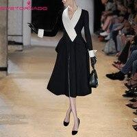 Women Autumn Winter Single Breasted Slim Elegant Long Dress Wool Coat Black White Block Casual Work Thick Warm Woolen Coat E6704