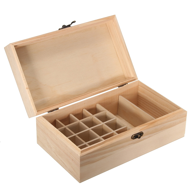 Modern 18 Grid Essential Oil Wooden Box Bottles Aromatherapy Container Case Holder For Home Craft Gift Ornament For Gril