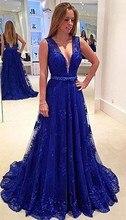 Lange abendkleider für hochzeit spitze königsblau v-ausschnitt a line abendkleider 2017 kristall vestidos largos de noche