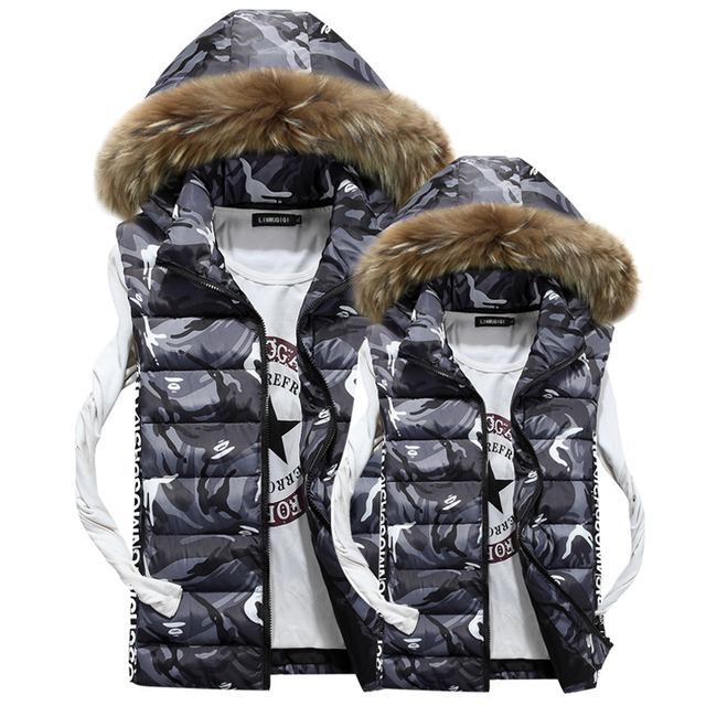 Autumn Winter Couples Fur Collar Hooded Military Vest Men Casual Camouflage Vests Men Padded Jacket chaleco hombre abrigo