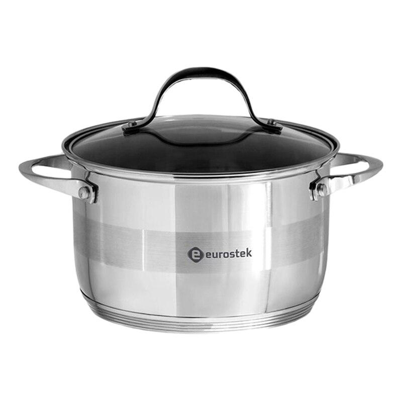 Saucepan with lid Eurostek ES-1013 (diameter 30 cm, volume 12 L, stainless steel, cover made of heat resistant glass, ненагревающиеся handle) heat resistant esprao firme 24 cm