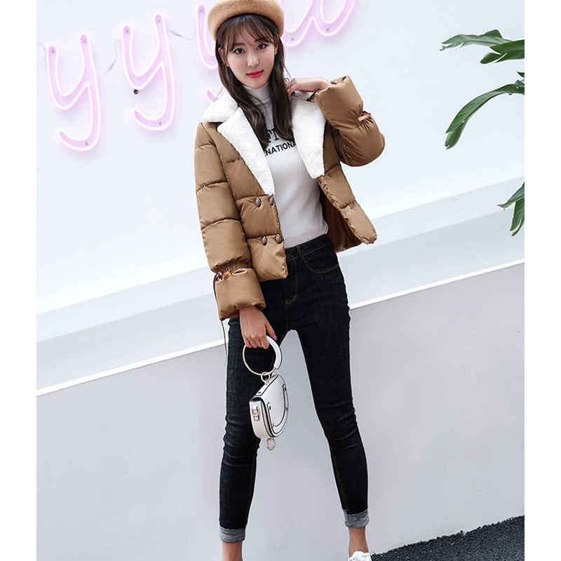 Hot Sale! 2017 New Winter short double breasted plus size coat Women Cotton Inner jacket Fashion Thickening Warm & Parka ZL411 free shipping boruoss 2015 new fashion winter cotton coat women short single breasted coat boruoss w1292
