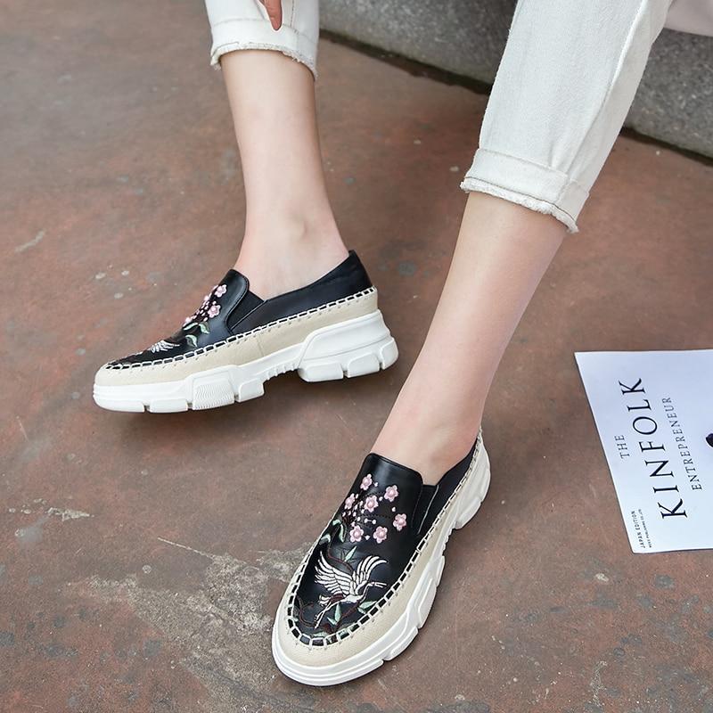 Zapatos Slip beige on Zapatillas Flores Estilo De Botas Plataforma Bordado Las Planos Mocasines Genuino Mujeres Cuero Deporte Black Chino Ocio Pisos XxqRpIU