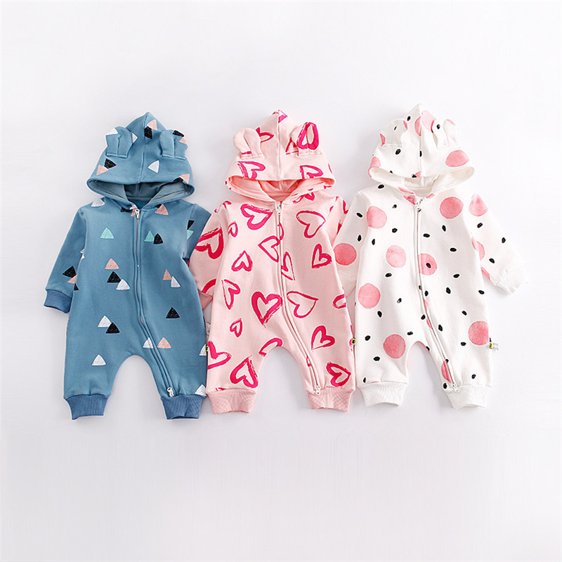 2017 Autumn Winter Hot Velvet Fleece Hoodie Romper Love Heart Long-sleeve Baby Clothing Girl One Piece Clothes Newborn Warm Suit 2017 hot newborn infant baby boy girl clothes love heart bodysuit romper pant hat 3pcs outfit autumn suit clothing set