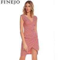 FINEJO Sexy Women Casual Dress V Neck Sleeveless Plaid Asymmetrical Hem Back Zipper Party Pencil Dresses
