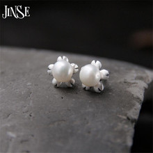 JINSE Fashion Silver Earrings Natural Shell Pearl Flower 925 Sterling Silver Earrings Jewelry For Women 11mm