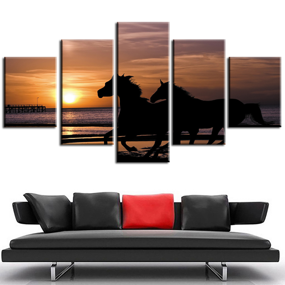 Canvas HD Print Painting Modern Home Decor 5 Panel Sunset Running Horses Framework Wall Art Poster Living Room Modular Pictures