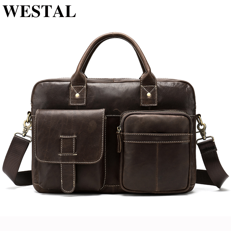 WESTAL Genuine Leather Messenger Bag Men 's Shoulder bag for laptop briefcase men Leather bags fashion male Crossbody bags 8503 блуза imperial imperial im004ewsux72