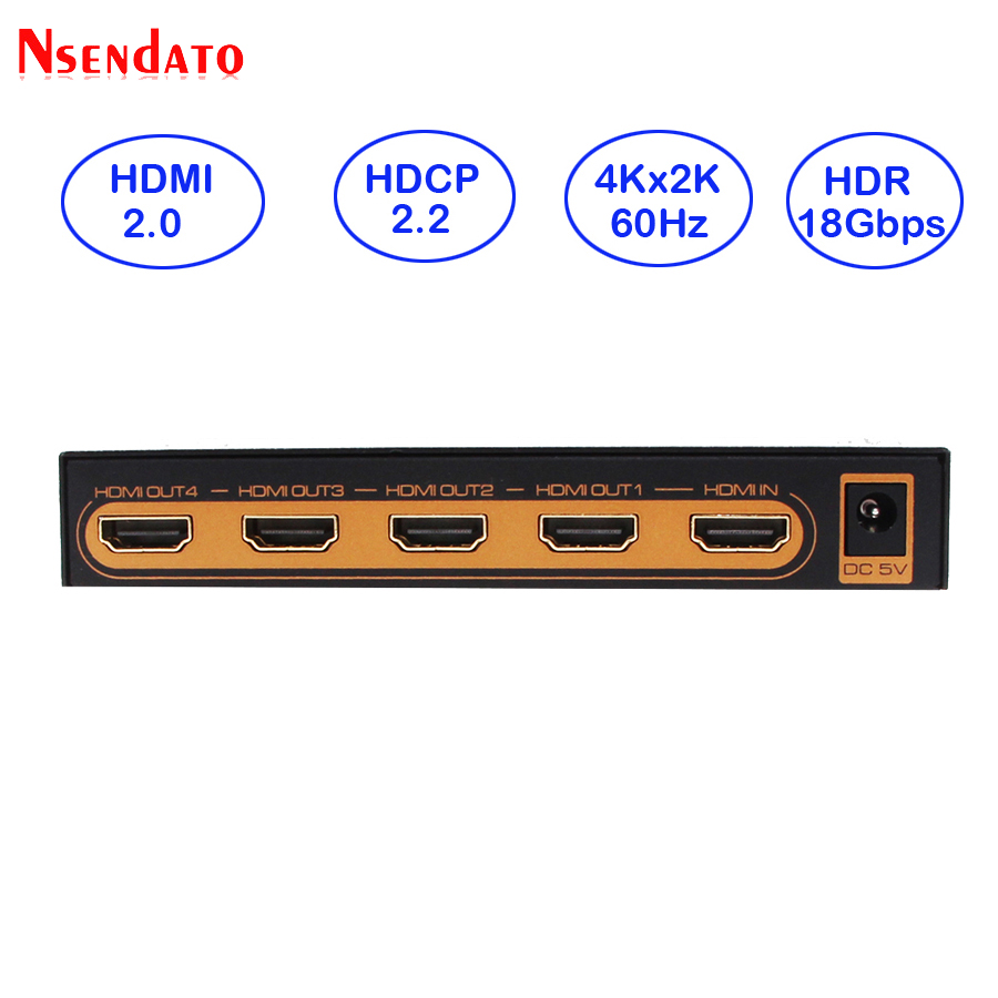 HDMI 2.0 Splitter 1X4 4Kx2K 60Hz 1 In 4 Out HDMI Switch Converter with Power adapter For HDCP2.2 DTS Dobly 1080p 4K HDTV Monitor цена и фото