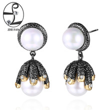 ZHE FAN Vintage Simulated Pearl Earrings Black Gold Color Dangle Earrings 2 Tone Plating Jewelry Party Gift