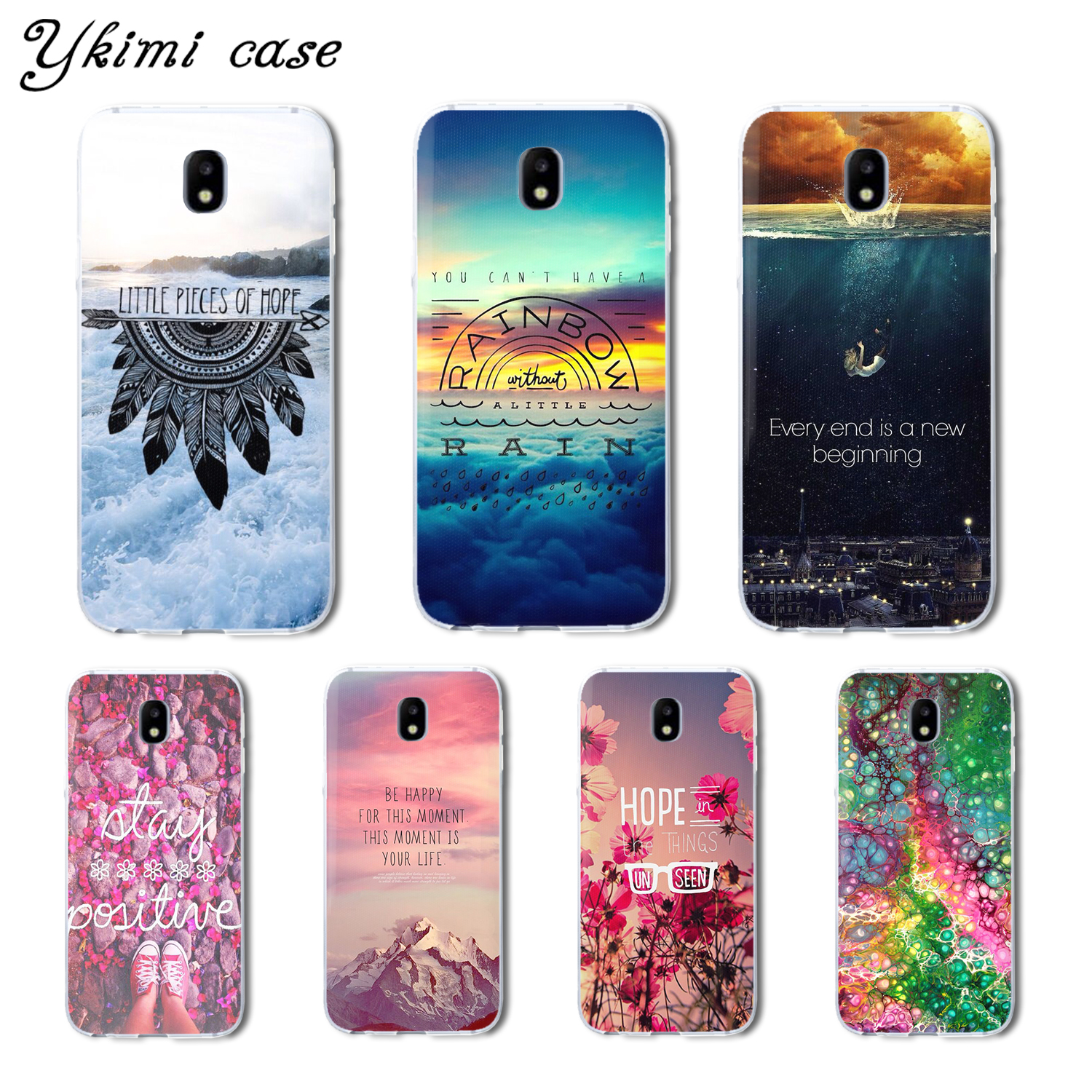 For Samsung Galaxy J3 J5 J7 2017 J330 J530 J730 case Beautiful text landscape soft TPU cover transparent silicone phone capa