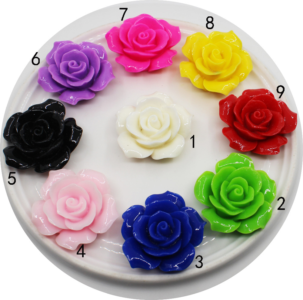 Fashion 5pc 35MM Roses Resin wedding Accessories flatback DIY craft supplies decorative hair flower center scrapbooking