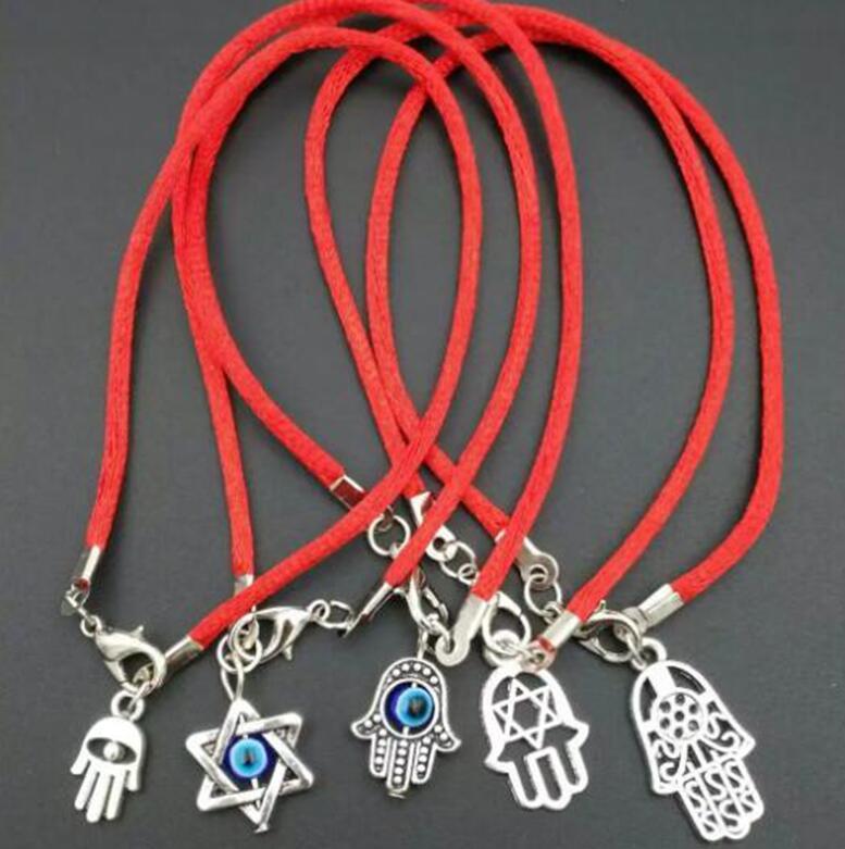 Bracelet Hamsa Eye-Jewelry Fatima KABBALAH Good-Luck EVIL Hand-Made 10pcs Mixed-Color