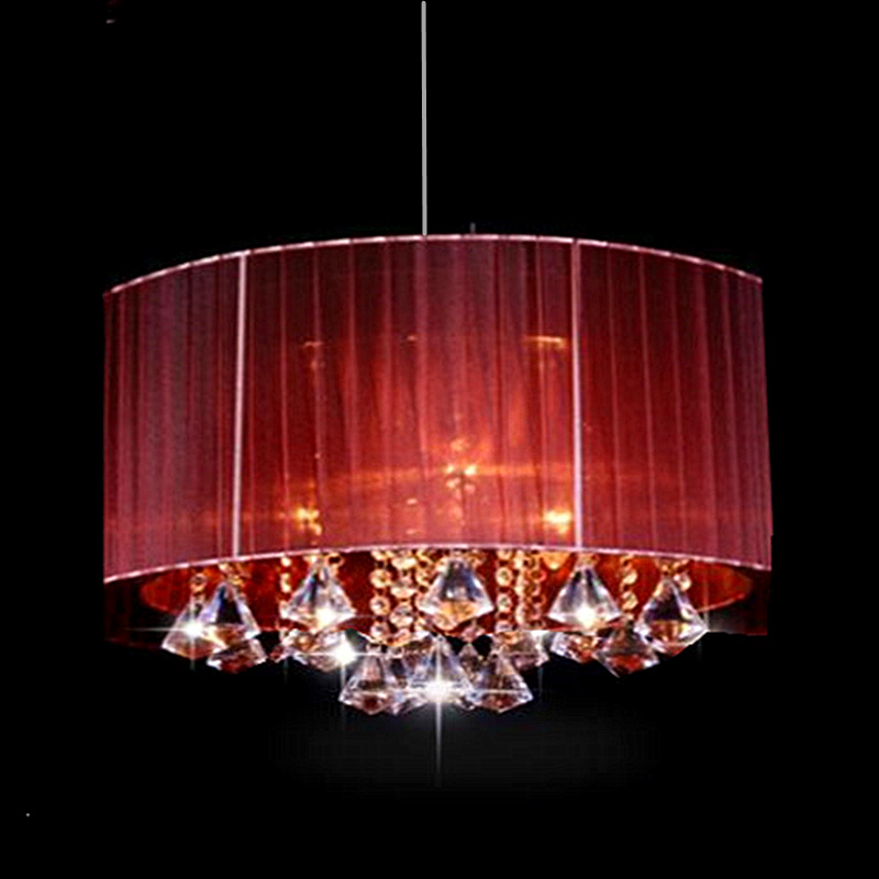 Modern oval chandelier living room study room led lustre light Brushed fabric lampshade k9 crystal luminaria free deliver in Chandeliers from Lights Lighting