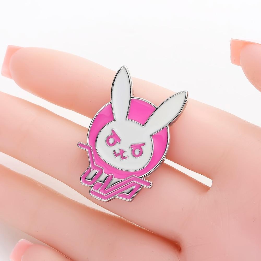 Game OW Overwatch DVA Pink Rabbit Metal Pin Enamel Brooch Cosplay Props Jewelry