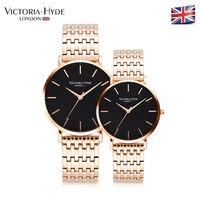 Виктория Hyde любителей Часы Элитный бренд Нержавеющаясталь группа Для мужчин Для женщин Кварцевые наручные часы Водонепроницаемый с подар
