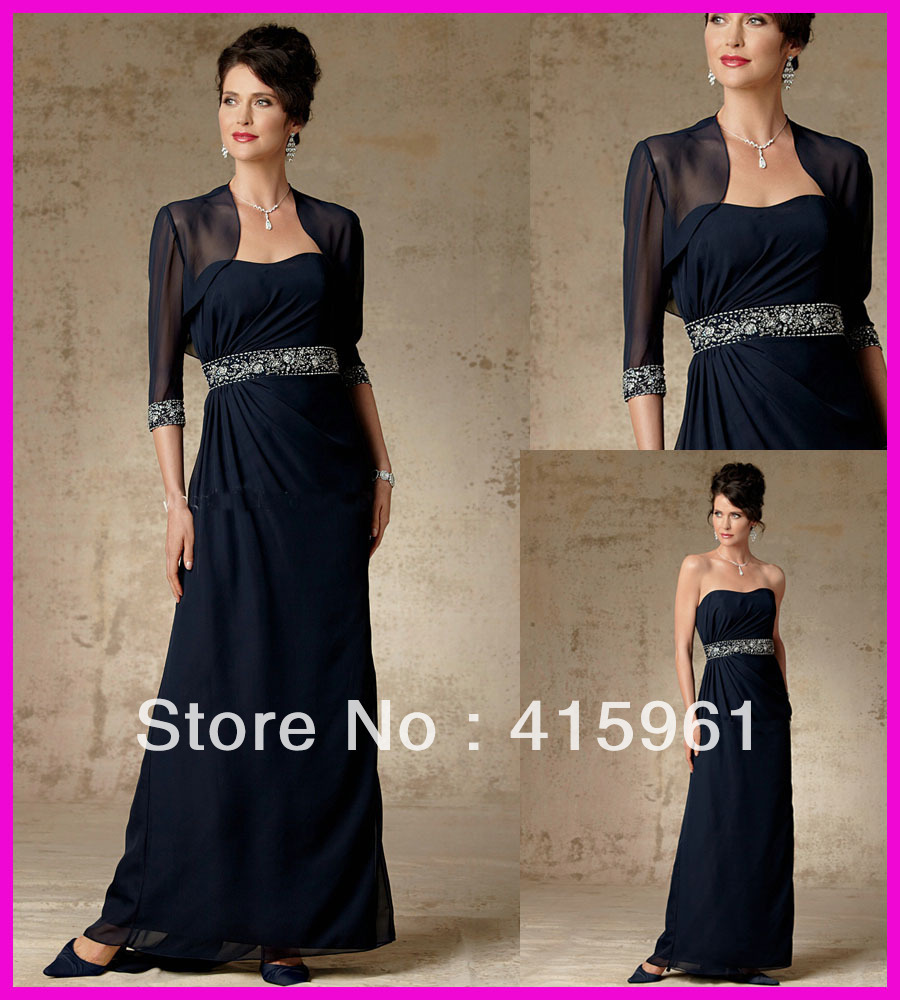 Vestido De Madrinha Evening Gown Dark Navy Beads Crystals Chiffon 2018 Mother Of The Bride Dresses With Long Sleeve Jacket
