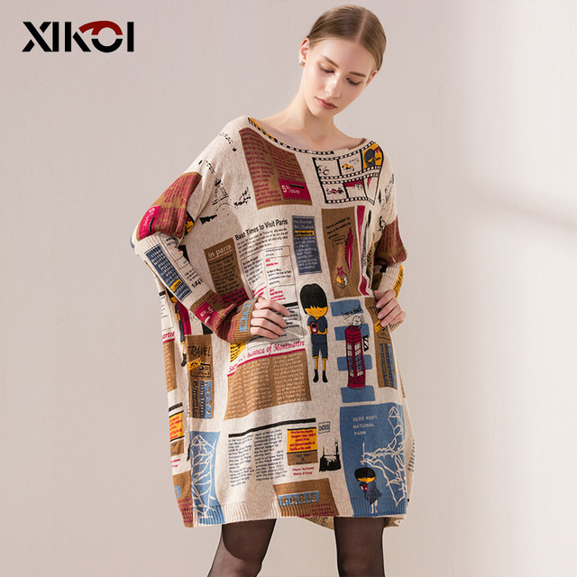 2017 Oversized Sweater Autumn Casual Long Women Sweater Coat Batwing Sleeve Loose Sweaters For Women Clothes Pullovers Clothing