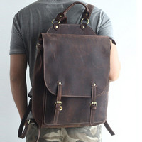 100% Genuine Leather Man Backpack Man Fashion Travel Top Laptop Bag Cow Leather Backpack 15 Mochila Teenager School Laptop Bags