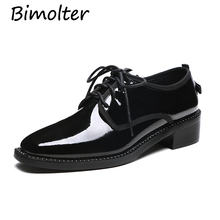 Bimolter 2019New Women Dress Shoes Formal Wedding Genuine Leather Retro Brogue Business Office Womens Flats Oxfords NA023