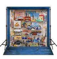 Blau Holzspielzeug Auto foto hintergrund Vinyl tuch Hohe qualität Computer gedruckt weihnachten Hintergründe