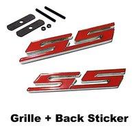 2pcs Sets SS Front Grille Red Back Sticker Car Emblem Badge For CHEVROLET CRUZE Silverado MALIBU