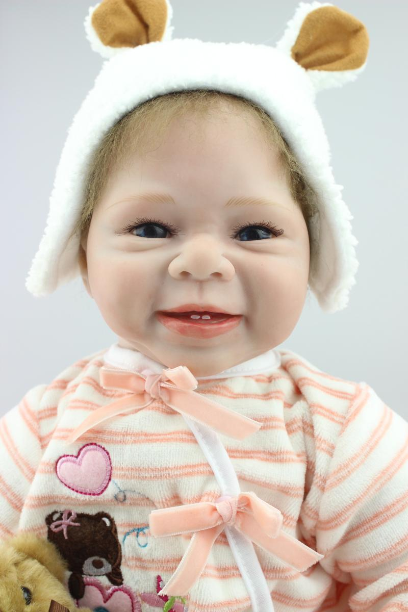 New 22inch 55cm cute reborn baby dolls /newborn silicone reborn babies smiling face rooted hair best baby toys birthday gift