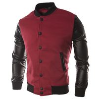LASPERAL 2017 Jaqueta Male Leather Patchwork Hoodies Button Basic Jacket Autumn Men S Bomber Jackets Coats