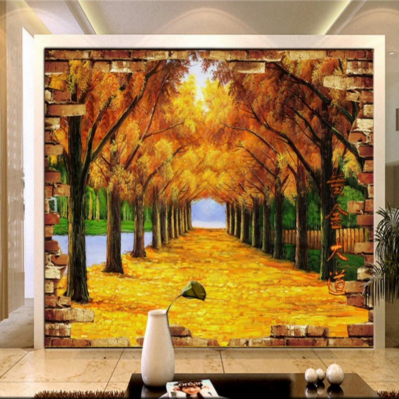 Custom photo wallpaper Natural scenery golden tree Autumn leaves Living room decoration backdrop wallpaper murals custom photo wallpaper natural scenery mangrove landscape custom wallpaper business hotel home decoration backdrop murals