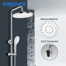 Vagsure Ceiling Mounted Rainfall Plastic Top Spray Shower Head G1/2 Connector Silicon Nozzles Room