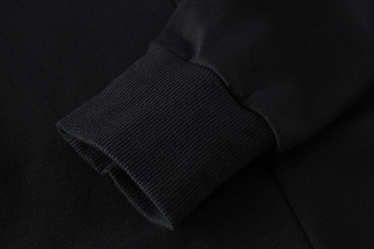 Cross Printed Hip Hop Sweatshirt Men 17Spring Streetwear Curved Hem Side Zipper Plain Mens Sweatshirts and Hoodies Man Clothes 42