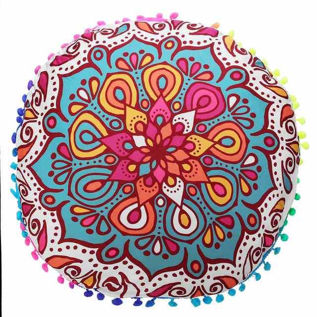 2018 Colorful Large Mandala Floor Pillows Round Bohemian Meditation Pillow  Cover Ottoman Pouf Floor Cushion DIY