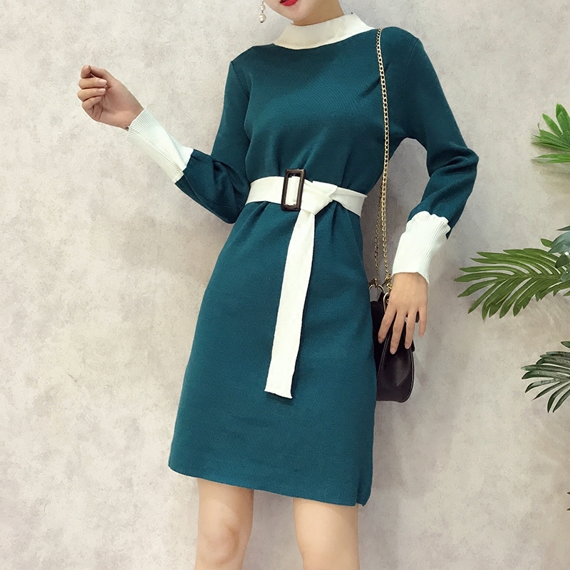 Knit Dress Women Autumn Winter New Female 2018 Korean Style Long-sleeved Hit Round Collar Belt Waist Knitted Basic Dress Student