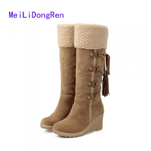 Fashion Women Winter Warm Shoes Platform Boots Buckle Cotton Snow Boots 7cm Wedge Knee High Boots botas femininas
